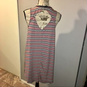 American eagle striped swing dress with cutout